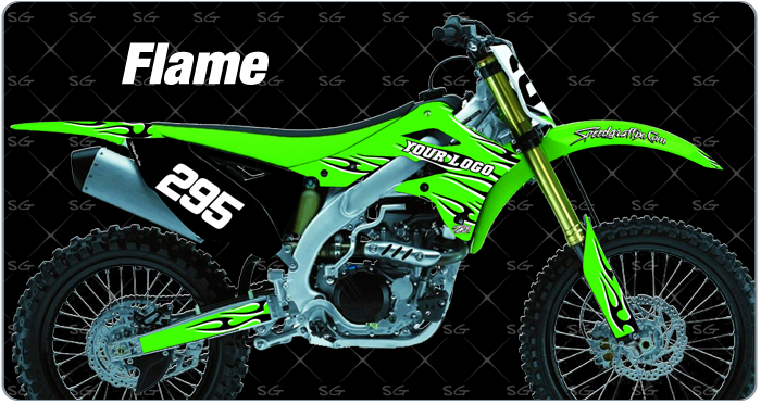 flame motocross graphics for your kawasaki dirtbike