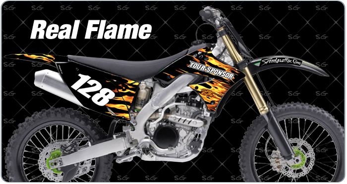 realflame kawasaki motocross graphics for your dirtbike