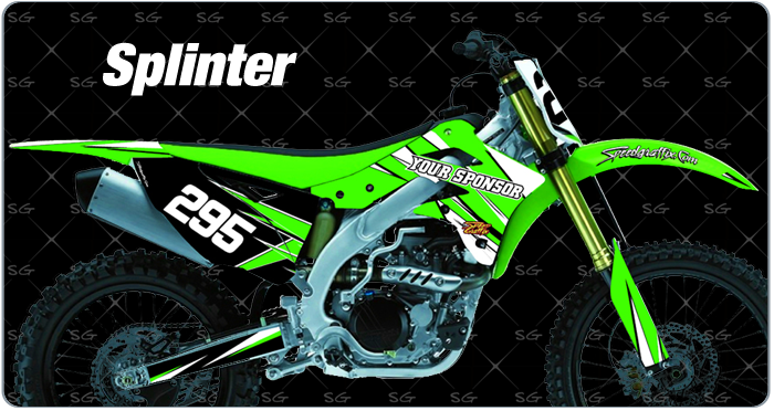 splinter motocross graphics for kawasaki dirt bikes