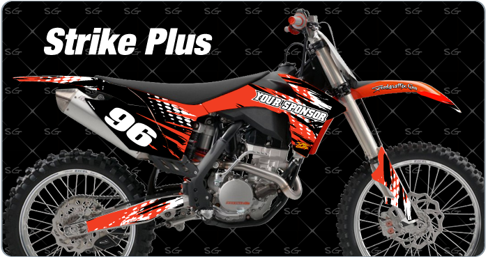 strike pre-made motocross graphics kit for ktm
