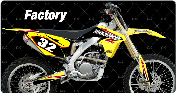 factory Suzuki Motocross Graphics Kit pre  made for your dirtbike.  Pair your factory suzuki motocross graphics with our factory suzuki motocross numbers