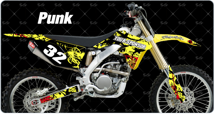 punk suzuki motocross decals custom made for your dirtbike
