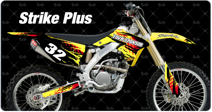 strike plus pre made motocross graphics kit.  The strike plus dirt bike graphics are pre made to fit your suzuki dirtbike
