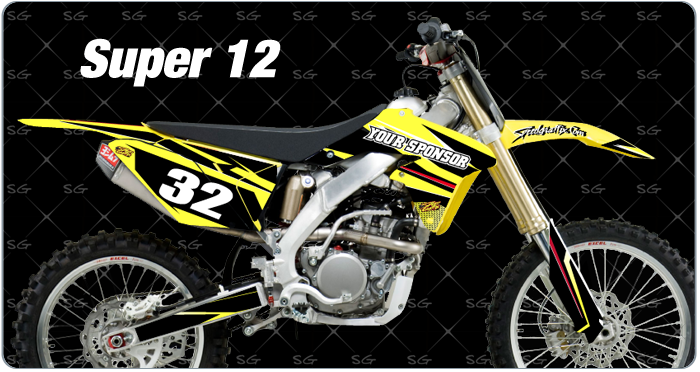Super 12 Suzuki Motocross Graphics premade dirtbike graphics kit