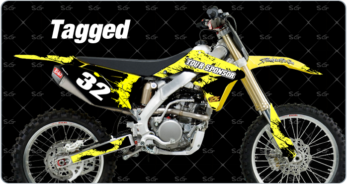 tagged suzuki motocross graphics kits premade for your suzuki dirt bike. Pair our tagged motocross graphics with a set of our motocross numbers.