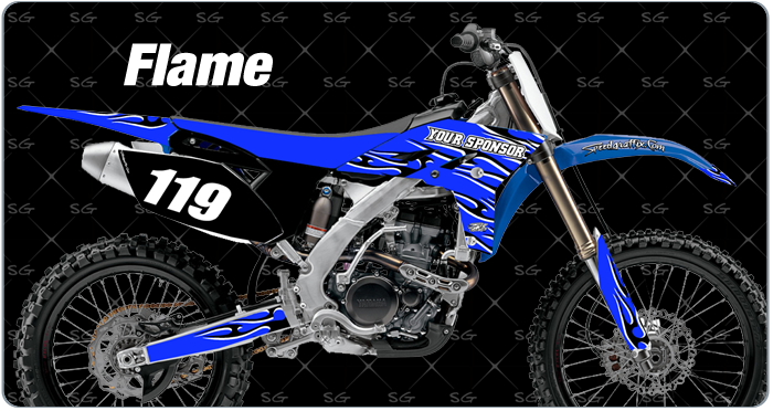 flame motocross graphics. dirtbike graphics kit made for yamaha dirt bike