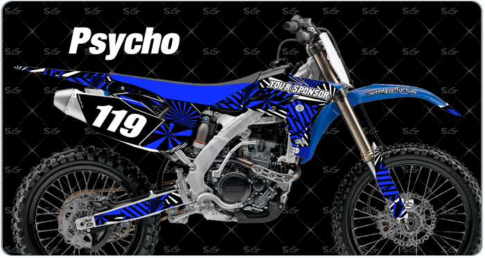 psycho motocross graphics. dirtbike graphics kit made for yamaha dirt bike
