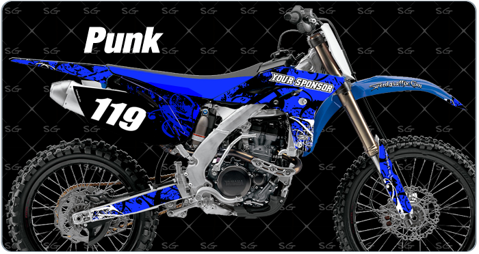 punk motocross graphics. dirtbike graphics kit made for yamaha dirt bike