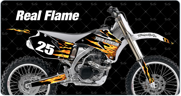 realflame motocross graphics. dirtbike graphics kit made for yamaha dirt bike