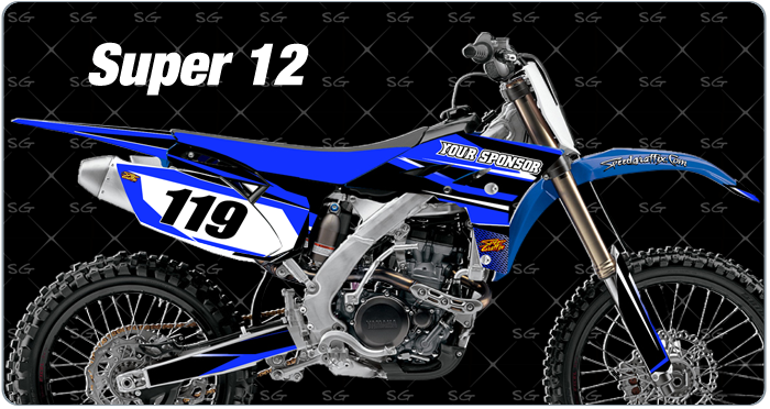 super 12 yamaha motocross graphics. dirtbike graphics kit made for yamaha dirt bikes