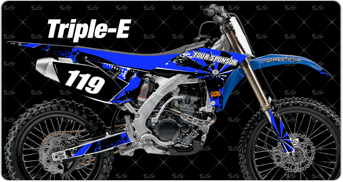 tripple-e motocross graphics. dirtbike graphics kit made for yamaha dirt bike